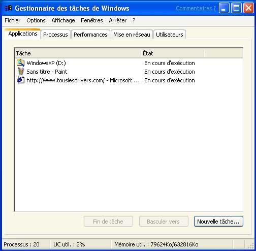 Test de windows xp pr sentation 1 for Gestionnaire de fenetre